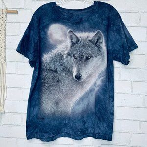 The Mountain white wolf graphic T size Large blue